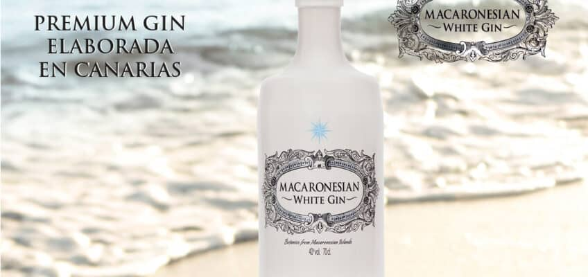 A macaronesian gin bottle at the sea's shore