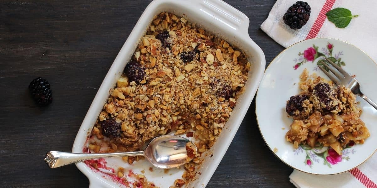 Sloe-ly does it: a boozy apple and blackberry crumble to warm your soul